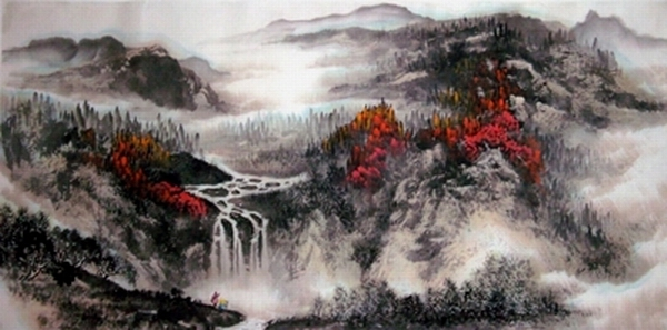 中国山水画家刘东方先生作品欣赏-《�耧L秋思�D》