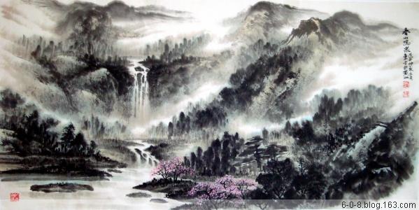 中国山水画家刘东方先生作品欣赏-《春山�Q泉》
