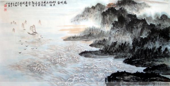 中国山水画家刘东方先生作品欣赏-《�P帆�D》