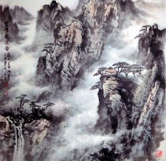 中国山水画家刘东方先生作品欣赏-《碧嶂�w泉�D》