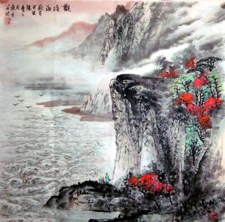 中国山水画家刘东方先生作品欣赏-《�^�婧�D》