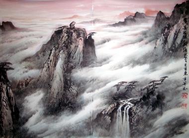 中国山水画家刘东方先生作品欣赏-《�S山石猴�^海》
