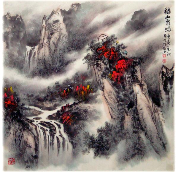 中国山水画家刘东方先生作品欣赏-《秋山泉鸣》