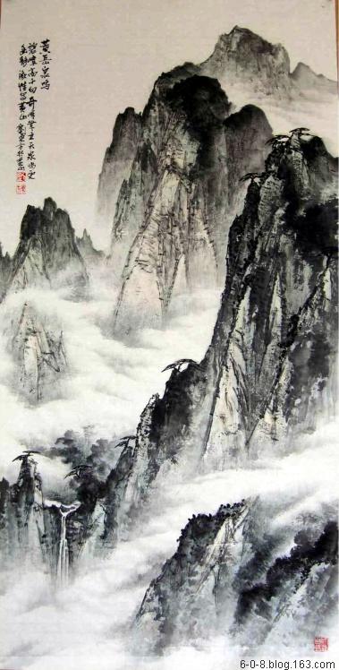中国山水画家刘东方先生作品欣赏-《黄岳泉鸣》