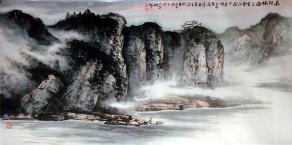 刘东方国画山水作品-宜昌江上所见