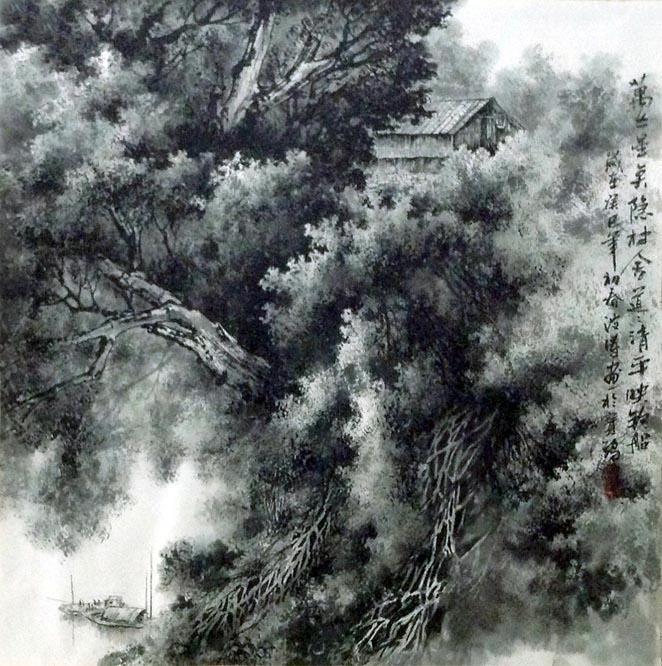 苗波涛现代彩墨山水画 四尺斗方 作品欣赏图片