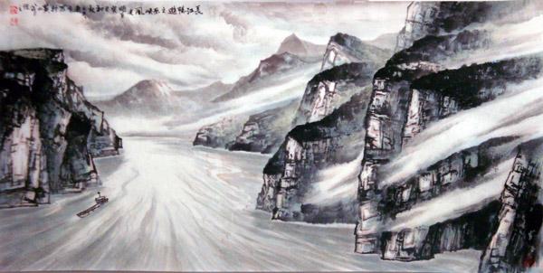东方国画山水作品欣赏-长江畅游之巫峡风光
