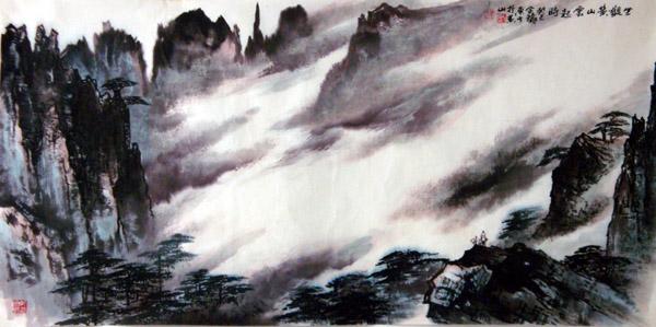 刘东方国画山水作品欣赏-坐观黄山云起时