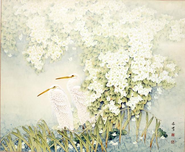 中国画家陈禾青先生作品欣赏:《鹭岛春晖》130x100cm
