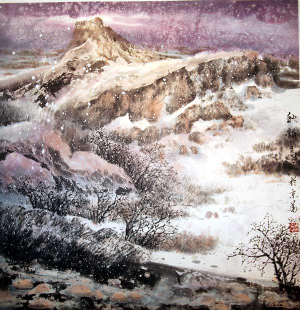 壁纸 风景 国画 旅游 瀑布 山水 桌面 600_620