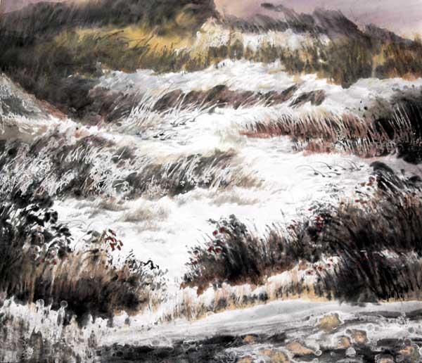 壁纸 风景 国画 旅游 瀑布 山水 桌面 600_516