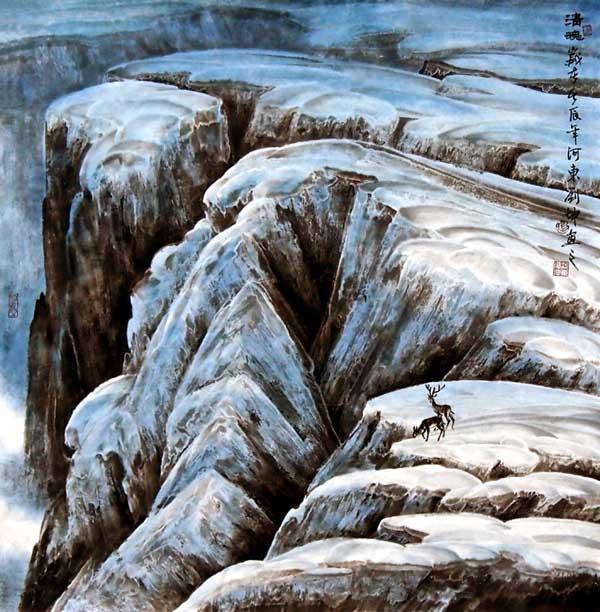 刘坤山水画作品-清魂(69 ×69 cm)