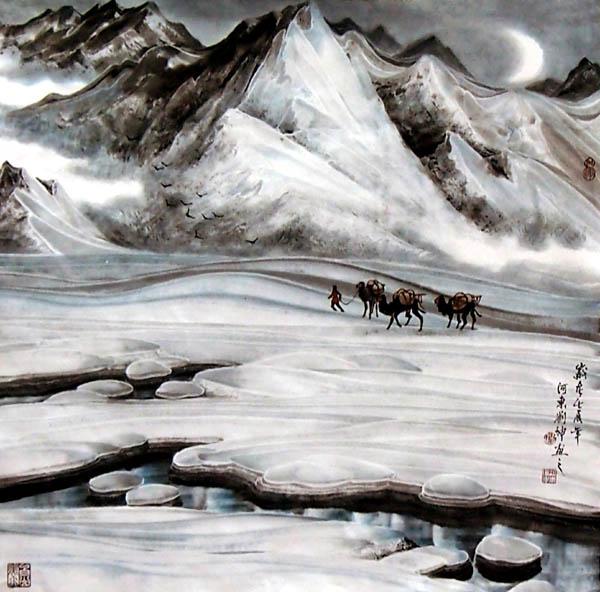 刘坤山水画作品- 天山行旅(69 ×69 cm)