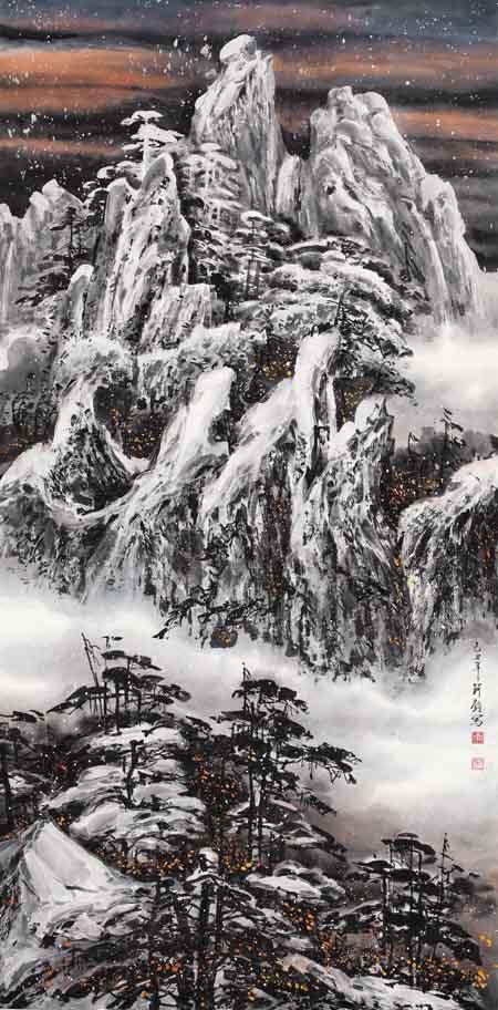 李珂钧  飞雪颂歌 136×68cm 2009年