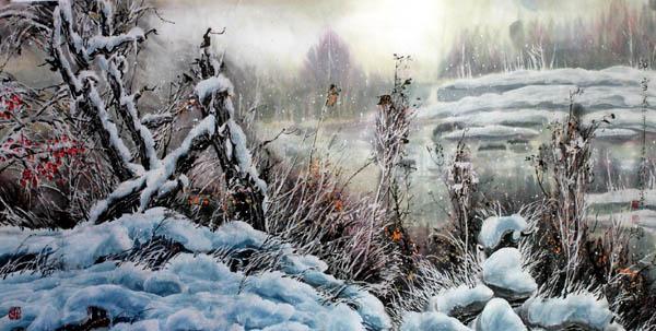 李柯钧  浴雪  68x136 2012年