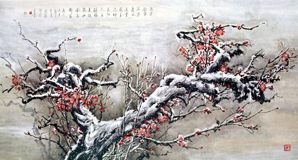 李珂钧《红梅傲雪》186cmX98cm  2010年