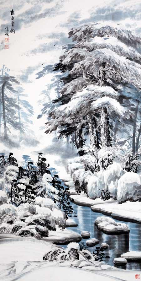 高俊峰   森林雪韵  136X68CM 2012年