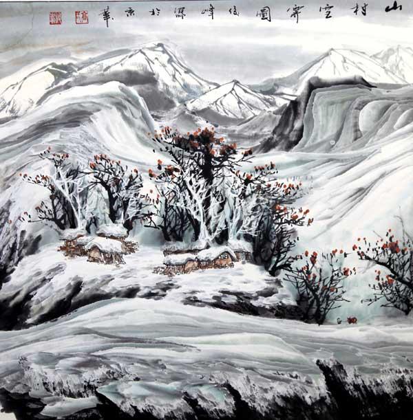 高俊峰  山乡雪霁图  68×68cm  2012年