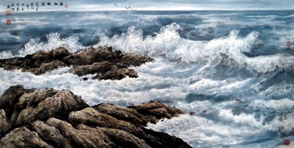 刘坤山水画作品-碧海银波(138×69cm)