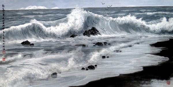 刘坤山水画作品-冰潮(138×69cm)