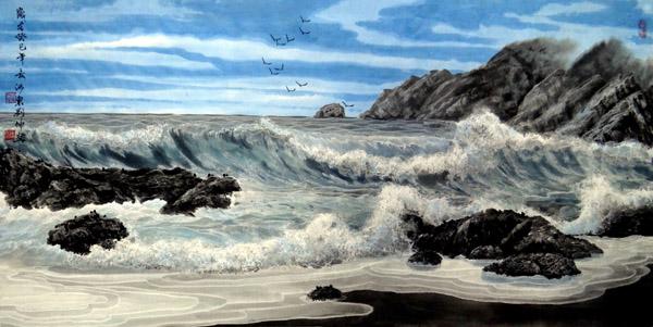 刘坤山水画作品-冰海晴空(138×69cm)