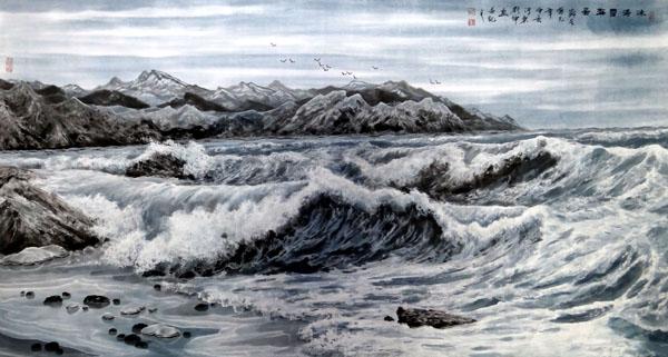 刘坤山水画作品-冰涛雪海图(138×69cm)