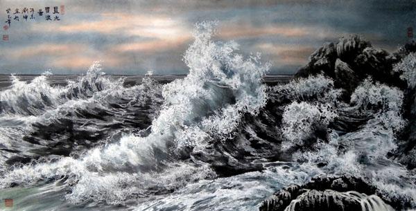 刘坤山水画作品-晨光雪浪图(138 × 69 cm)