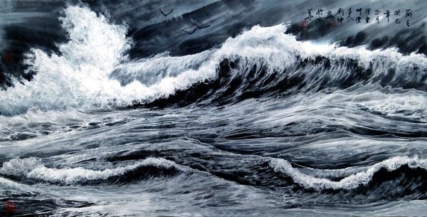 刘坤山水画作品-大风歌(138×69cm)