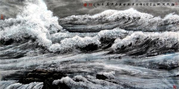 刘坤山水画作品-海天流韵(138 × 69 cm)