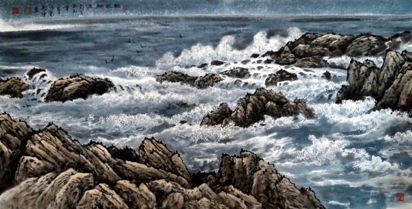 刘坤山水画作品-清风细浪(138×69cm)
