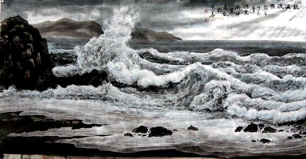 刘坤山水画作品-银波流雪(138×69cm)
