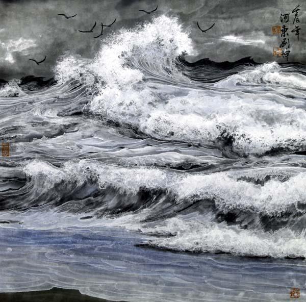 刘坤山水画作品- 春潮瑞雪起渔歌   68x68 cm  2012年
