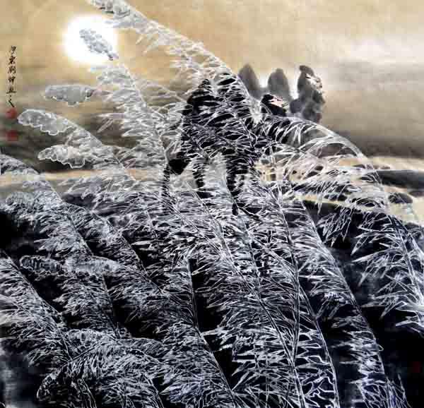 刘坤山水画作品-梦驼铃(69X69CM)