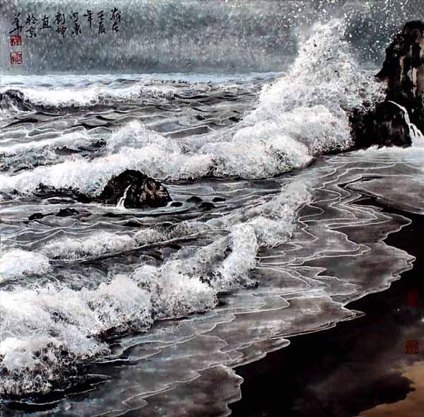 刘坤山水画作品-万里雪飘浪千层(69×69cm)