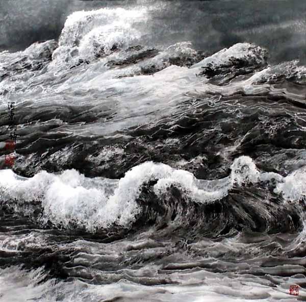 刘坤山水画作品-雪舞浪歌(69×69cm)