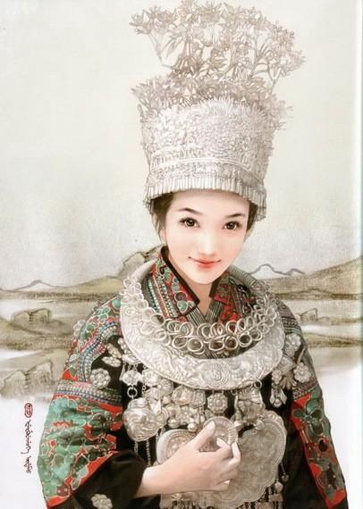 中国56个民族工笔画美女,惊艳唯美 组图