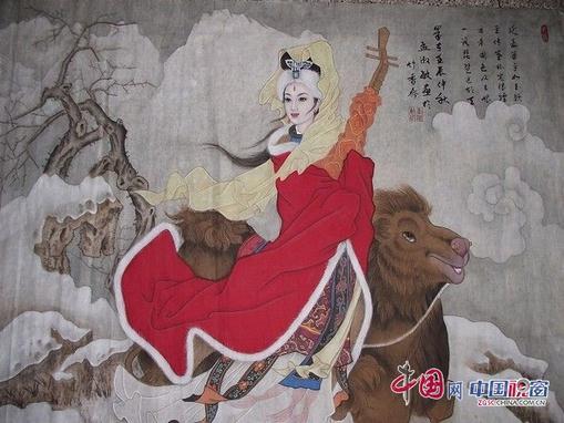 昭君出塞工笔画_能诗善画的孟淑敏-中国山水画艺术网