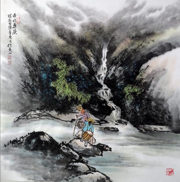 刘东方徽乡神游之《寻茶记》国画:涉水寻茶