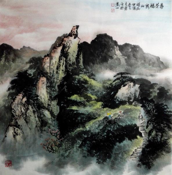 刘东方徽乡神游之《寻茶记》国画:寻茶福泉山