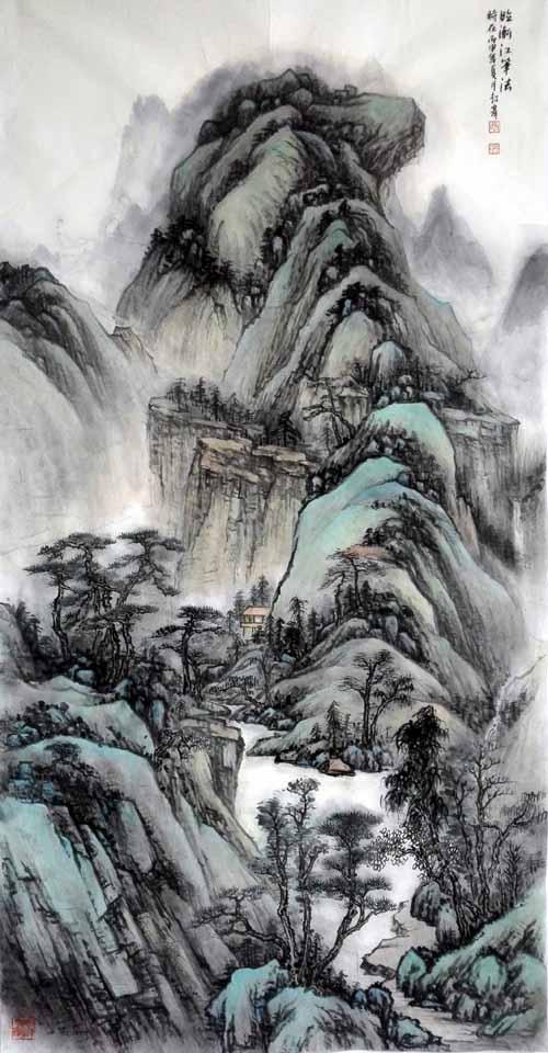 孙超峰山水画作品:临渐江笔法 68cm×136cn 2014年