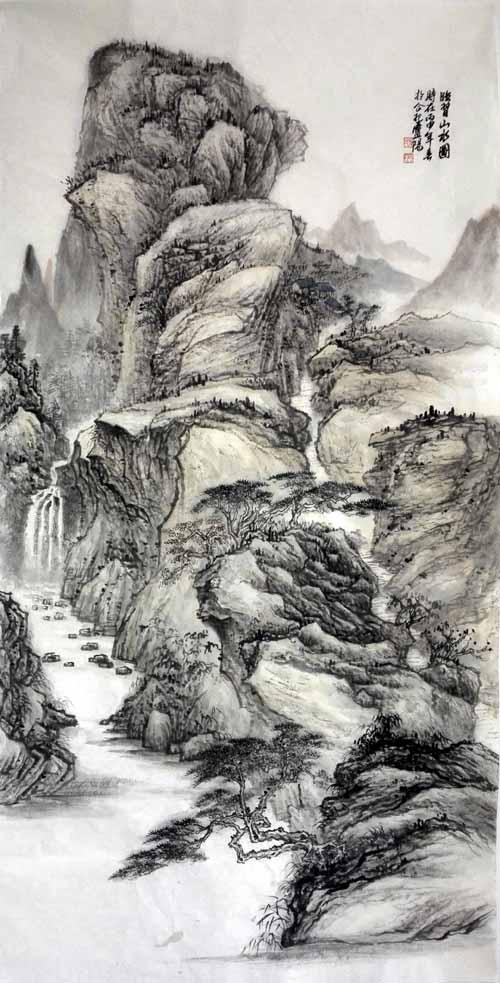 孙超峰山水画作品:临习山水图2016年 68cm×136cn