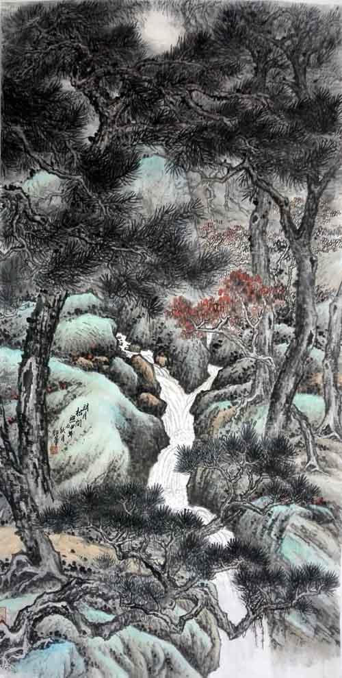 孙超峰山水画作品:明月松间照2016年 68cm×136cn