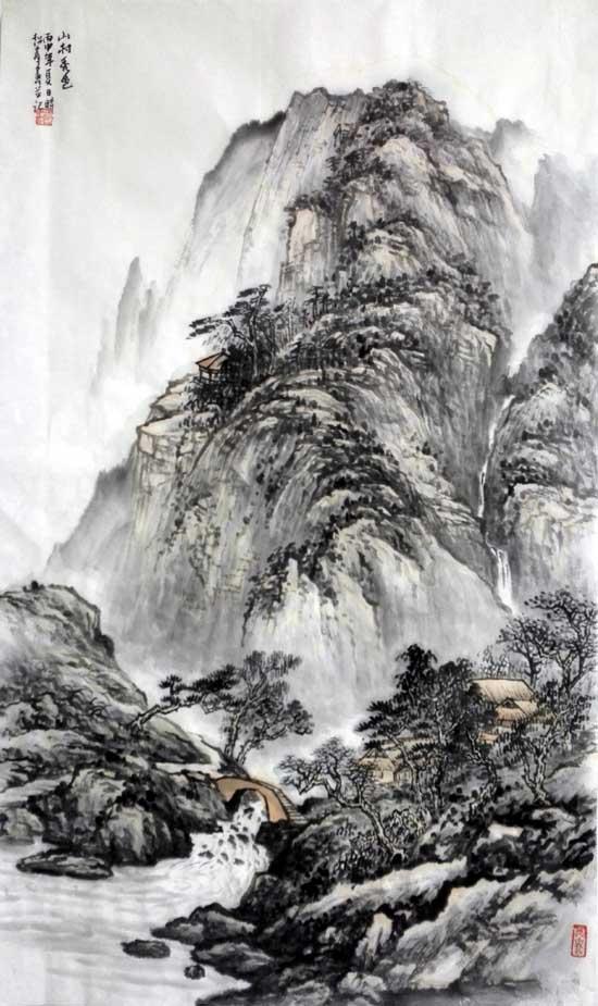 孙超峰山水画作品:山村秀色2016年58cm×98cn