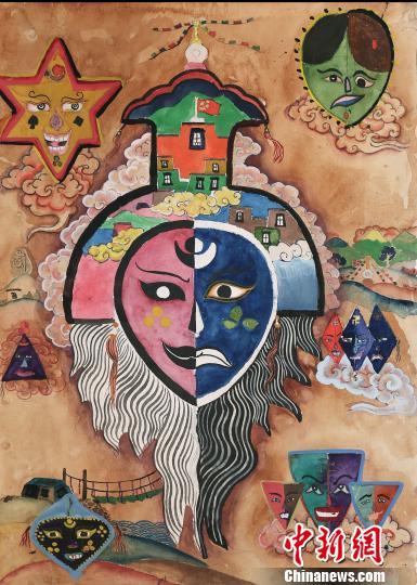 之美 拉萨特校儿童60余幅画作在林芝展出