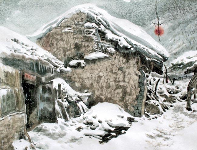 《老屋残雪》创作于2003年68x68