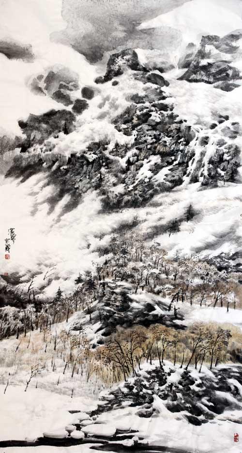 《长白幽谷》创作于 2011年汤宽义画180 x 97