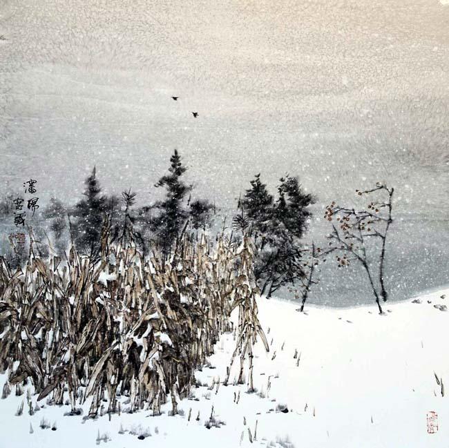 汤宽义《深冬》68X68cm