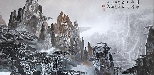 清潭两峰百丈泉 69×138cm 2016年