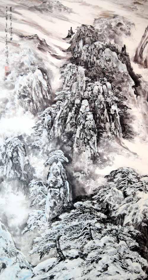 张军  黄山秀色云霞披  180x97cm  2013年
