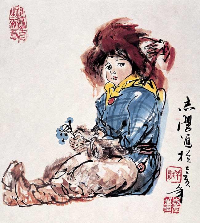 1995年   鄂族少年24x27cm